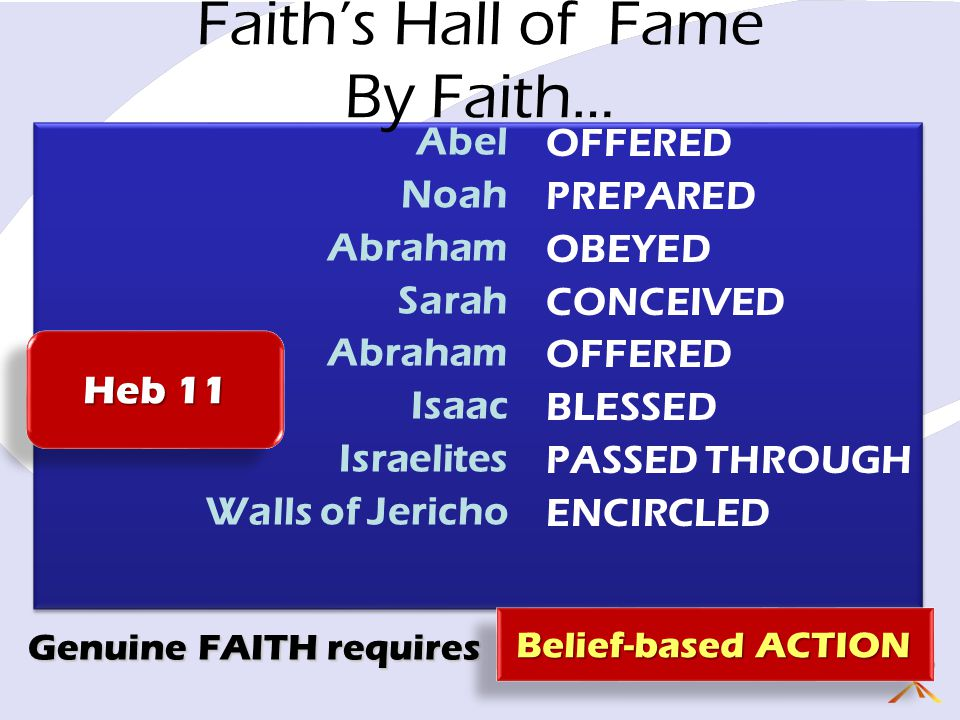 Faith's Hall of Fame By Faith… Abel Noah Abraham Sarah Abraham Isaac Israelites Walls of Jericho OFFERED PREPARED OBEYED CONCEIVED OFFERED BLESSED PASSED THROUGH ENCIRCLED Genuine FAITH requires Belief-based ACTION Heb 11