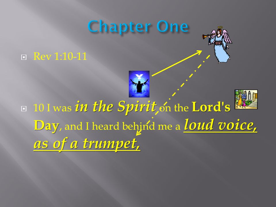  Rev 1:10-11 in the Spirit Lord s Day loud voice, as of a trumpet,  10 I was in the Spirit on the Lord s Day, and I heard behind me a loud voice, as of a trumpet,