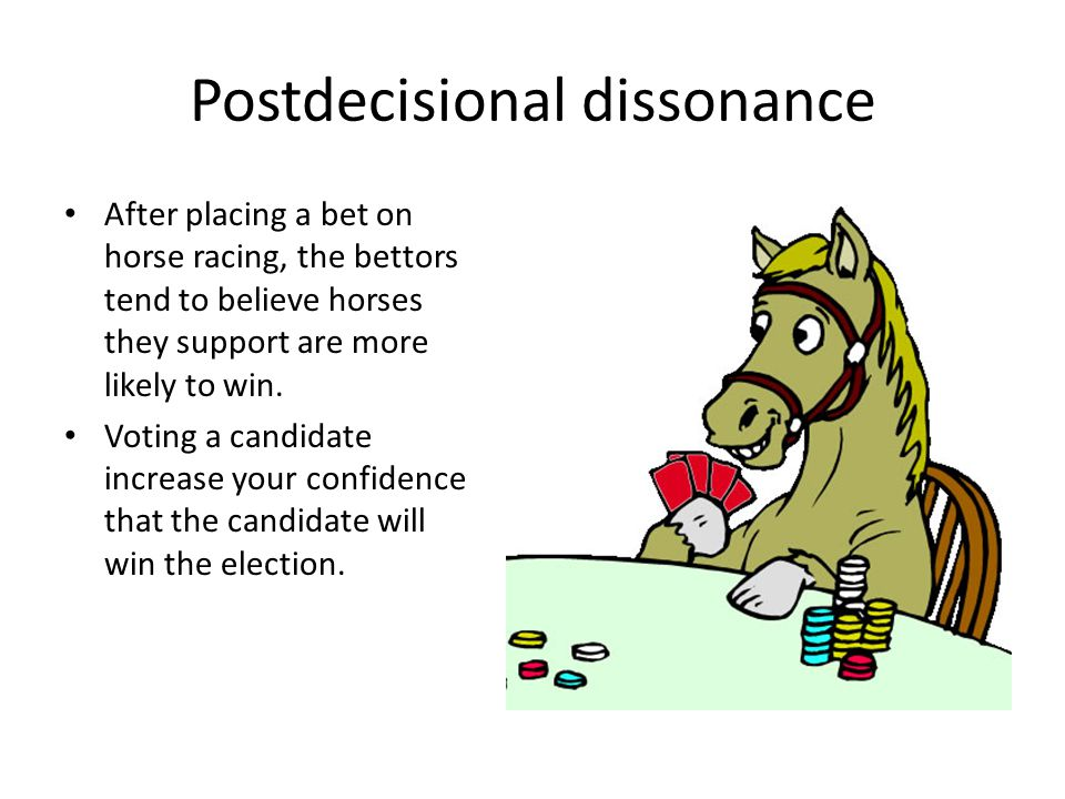 Postdecisional dissonance After placing a bet on horse racing, the bettors tend to believe horses they support are more likely to win. Voting a candid