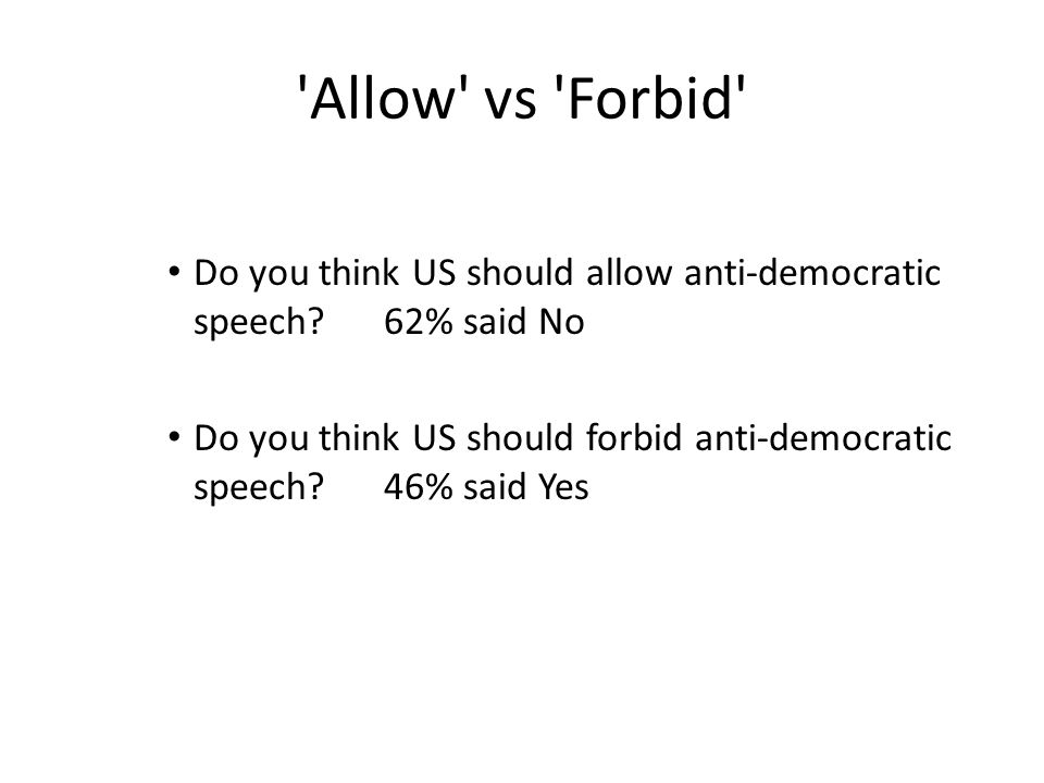 'Allow' vs 'Forbid' Do you think US should allow anti-democratic speech? 62% said No Do you think US should forbid anti-democratic speech? 46% said Ye