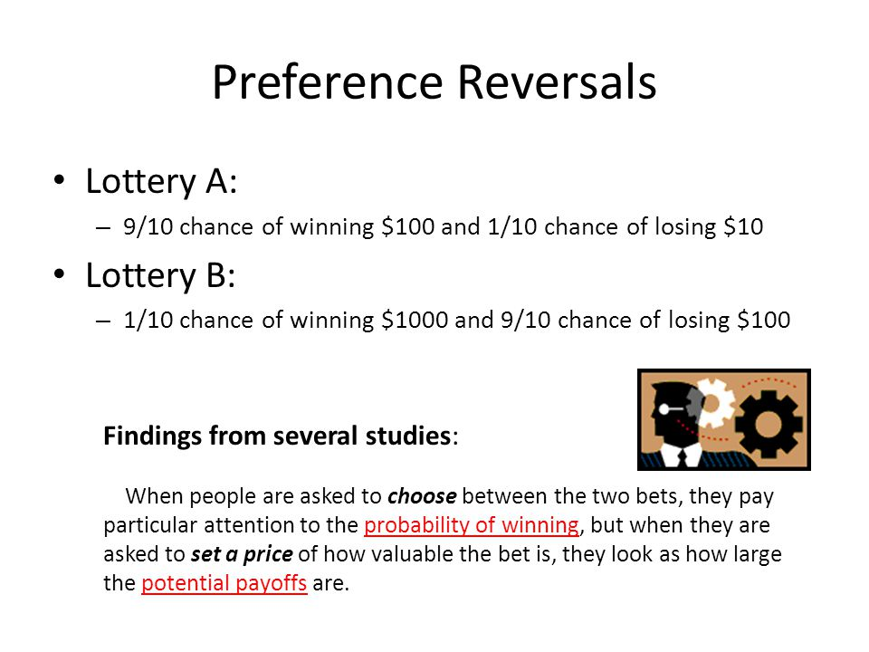 Preference Reversals Lottery A: – 9/10 chance of winning $100 and 1/10 chance of losing $10 Lottery B: – 1/10 chance of winning $1000 and 9/10 chance
