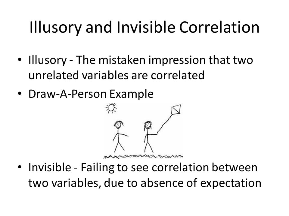 Illusory and Invisible Correlation Illusory - The mistaken impression that two unrelated variables are correlated Draw-A-Person Example Invisible - Fa