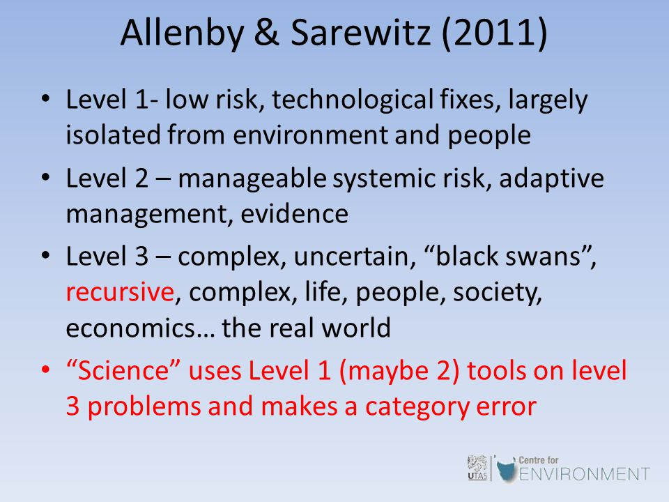 Allenby & Sarewitz (2011) Level 1- low risk, technological fixes, largely isolated from environment and people Level 2 – manageable systemic risk, ada