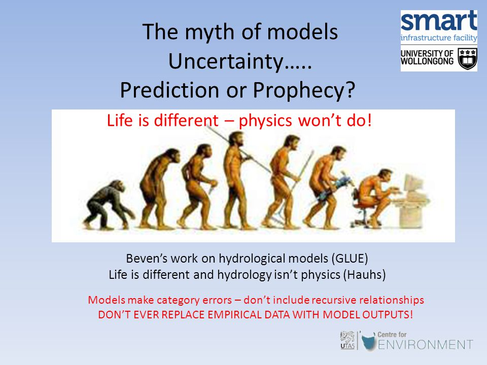 The myth of models Uncertainty….. Prediction or Prophecy? Life is different – physics won't do! Beven's work on hydrological models (GLUE) Life is dif