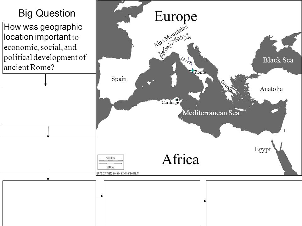 How was geographic location important to economic, social, and political development of ancient Rome.