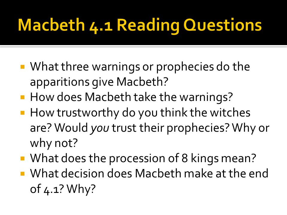  What three warnings or prophecies do the apparitions give Macbeth.