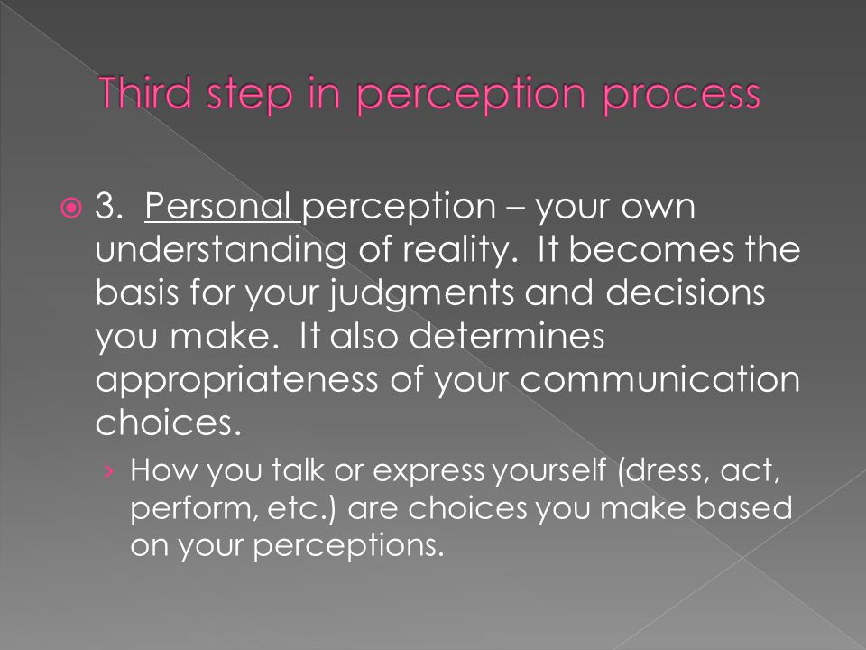  3. Personal perception – your own understanding of reality.