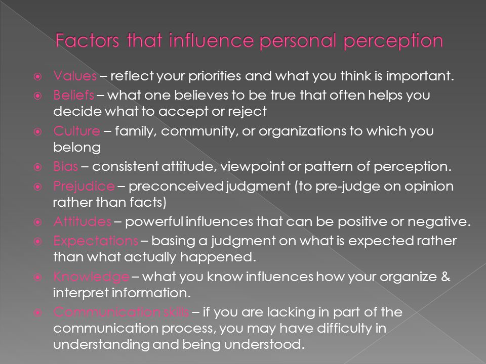  Values – reflect your priorities and what you think is important.
