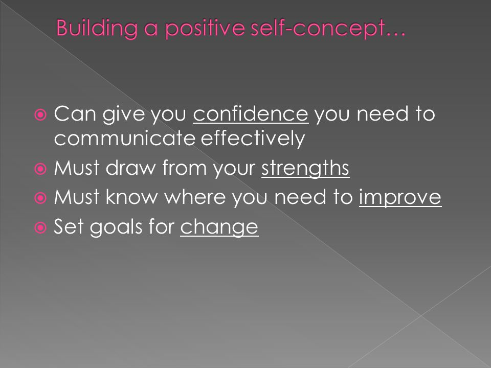  Can give you confidence you need to communicate effectively  Must draw from your strengths  Must know where you need to improve  Set goals for change