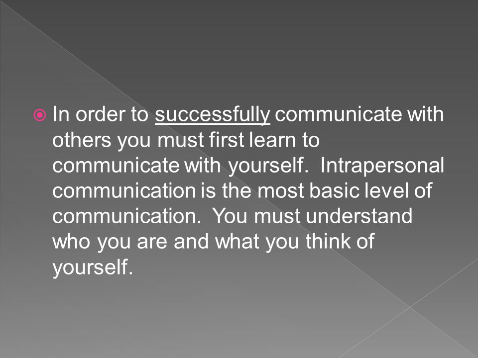  In order to successfully communicate with others you must first learn to communicate with yourself.