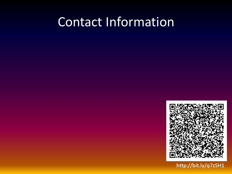 Contact Information http://bit.ly/q7zSH1