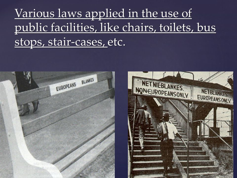 By Mzoli Mncanca Various laws applied in the use of public facilities, like chairs, toilets, bus stops, stair-cases, etc.
