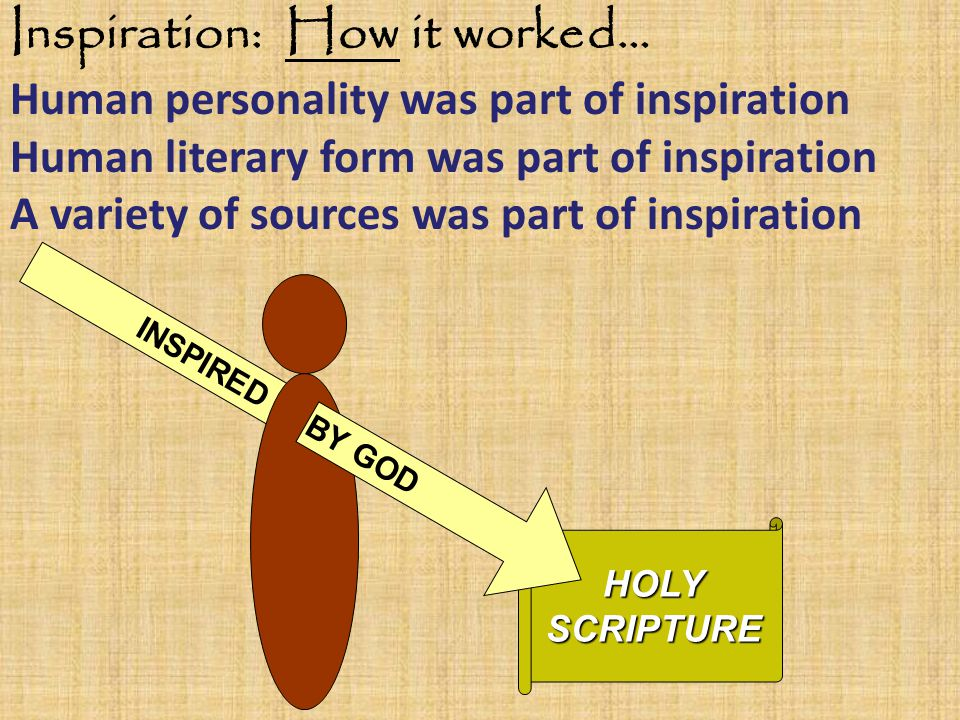 Inspiration: How it worked… Human personality was part of inspiration Human literary form was part of inspiration A variety of sources was part of inspirationHOLYSCRIPTURE INSPIRED BY GOD
