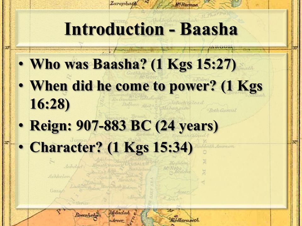 Saul (1051-1011 BC) David (1011-971 BC) Solomon (971-931 BC) Rehoboam (931-914 BC) Abijah (914-911 BC) Jeroboam (931-909 BC) Kings of Israel & Judah Israel Judah Nadab (909-907 BC) Asa (911-870 BC) Baasha (907-883 BC)
