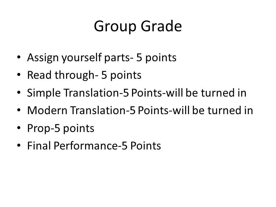 Group Grade Assign yourself parts- 5 points Read through- 5 points Simple Translation-5 Points-will be turned in Modern Translation-5 Points-will be t