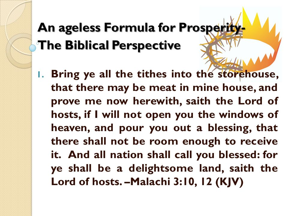 An ageless Formula for Prosperity- The Biblical Perspective 1.