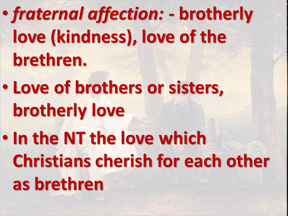 fraternal affection: - brotherly love (kindness), love of the brethren.