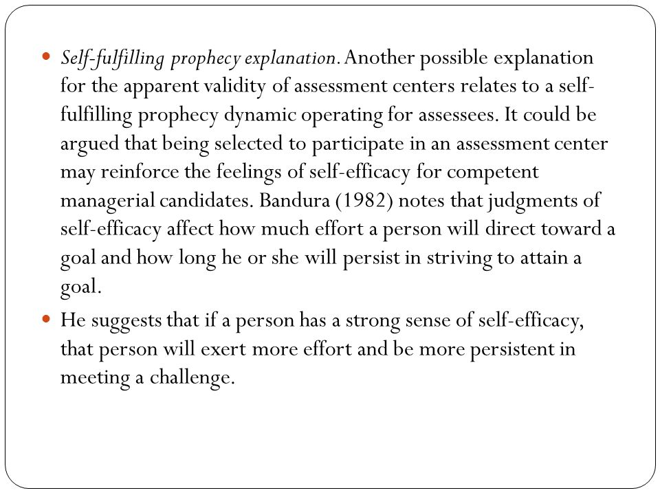 Self-fulfilling prophecy explanation.