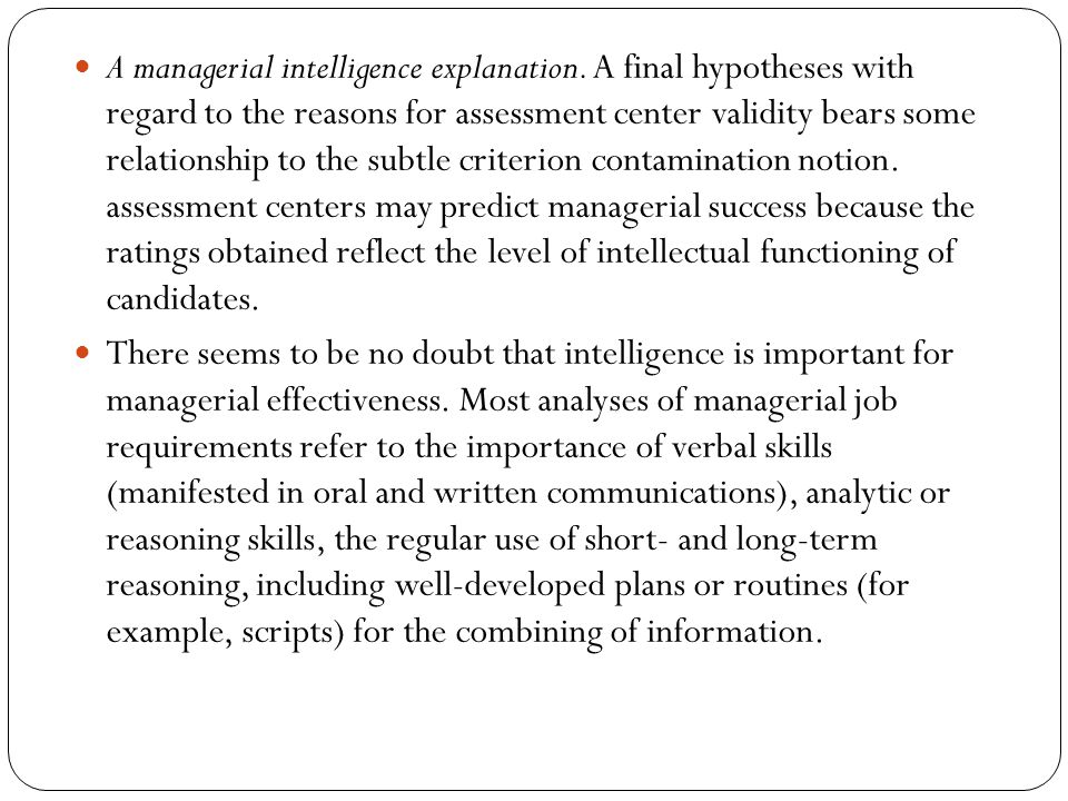 A managerial intelligence explanation.