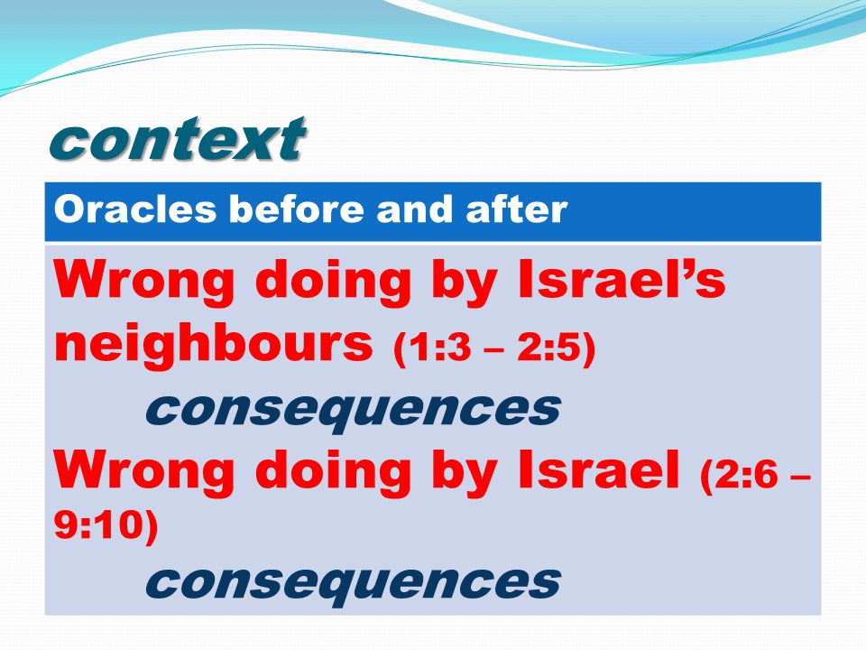 context Oracles before and after Wrong doing by Israel's neighbours (1:3 – 2:5) consequences Wrong doing by Israel (2:6 – 9:10) consequences