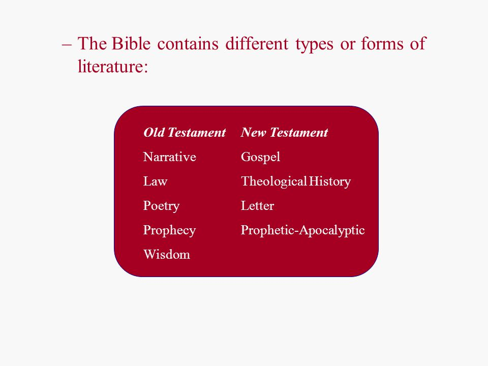 –The Bible contains different types or forms of literature: Old TestamentNew Testament NarrativeGospel LawTheological History Poetry Letter ProphecyPr