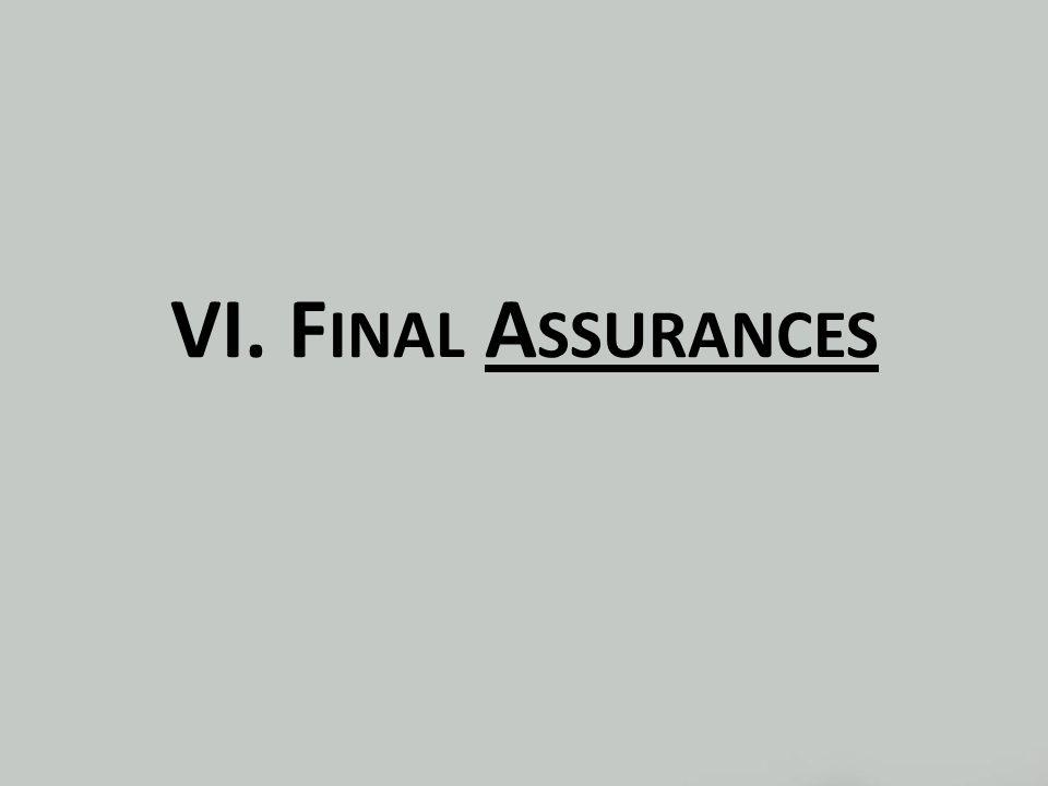 VI. F INAL A SSURANCES