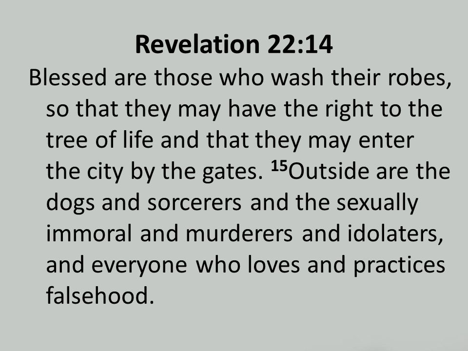 Revelation 22:14 Blessed are those who wash their robes, so that they may have the right to the tree of life and that they may enter the city by the gates.