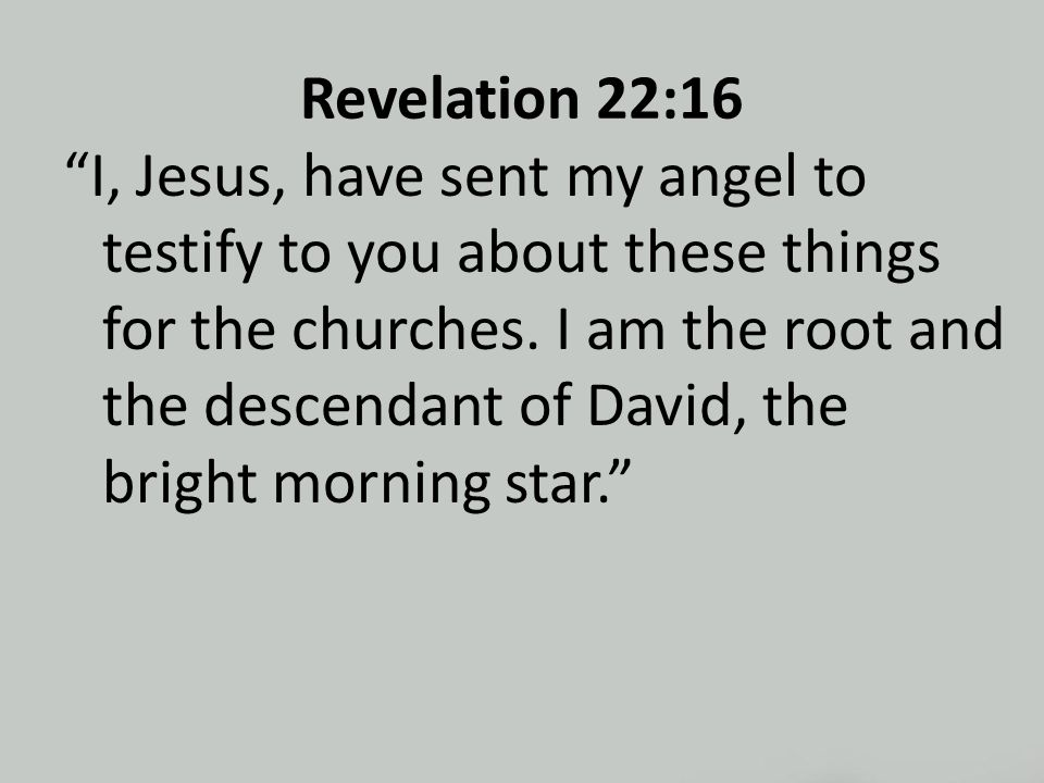 Revelation 22:16 I, Jesus, have sent my angel to testify to you about these things for the churches.
