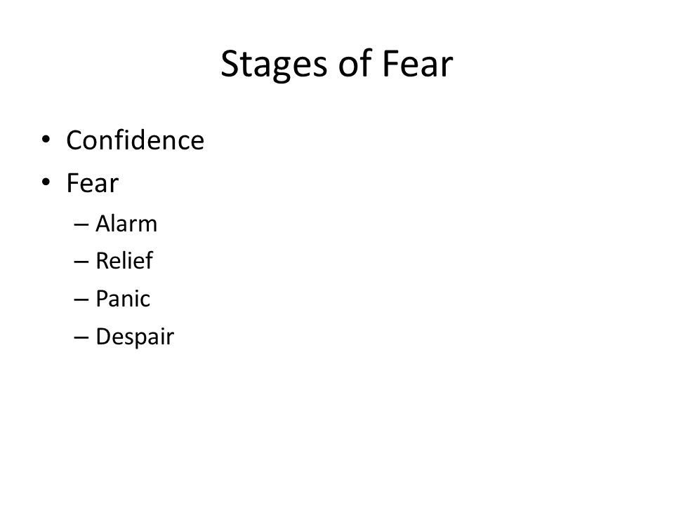 Stages of Fear Confidence Fear – Alarm – Relief – Panic – Despair
