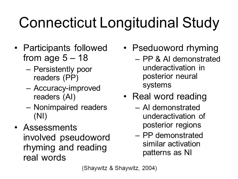 Connecticut Longitudinal Study Participants followed from age 5 – 18 –Persistently poor readers (PP) –Accuracy-improved readers (AI) –Nonimpaired readers (NI) Assessments involved pseudoword rhyming and reading real words Pseduoword rhyming –PP & AI demonstrated underactivation in posterior neural systems Real word reading –AI demonstrated underactivation of posterior regions –PP demonstrated similar activation patterns as NI (Shaywitz & Shaywitz, 2004)