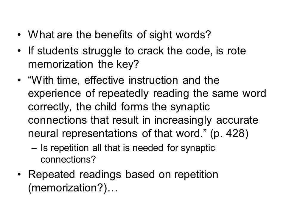 What are the benefits of sight words.