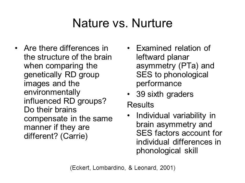 Nature vs. Nurture Are there differences in the structure of the brain when comparing the genetically RD group images and the environmentally influenc