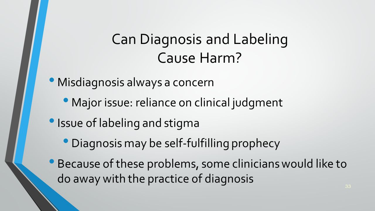 Can Diagnosis and Labeling Cause Harm.