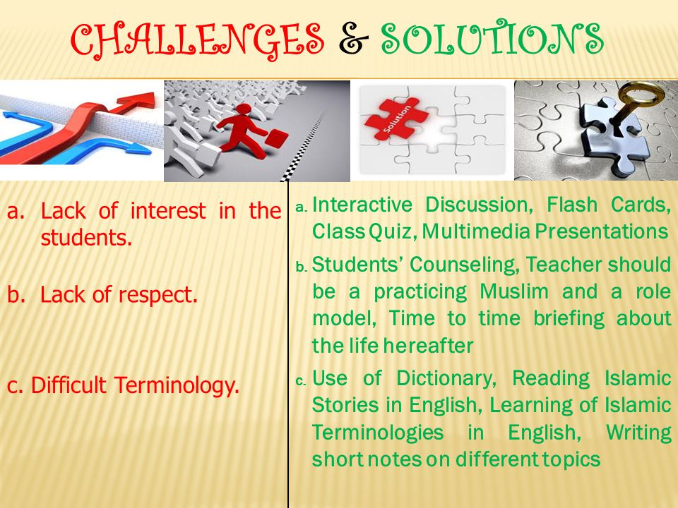 CHALLENGES & SOLUTIONS c.Difficult Terminology. a.