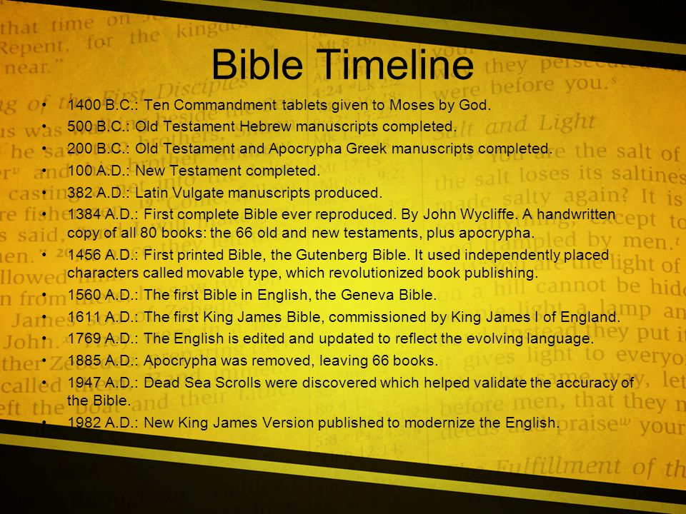 Bible Timeline 1400 B.C.: Ten Commandment tablets given to Moses by God.