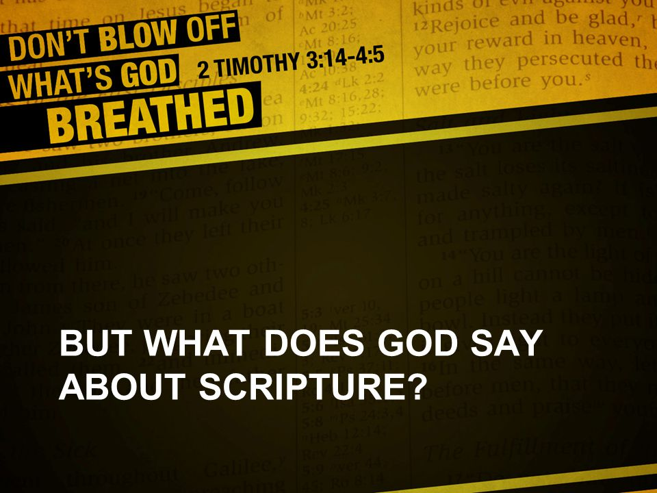 BUT WHAT DOES GOD SAY ABOUT SCRIPTURE