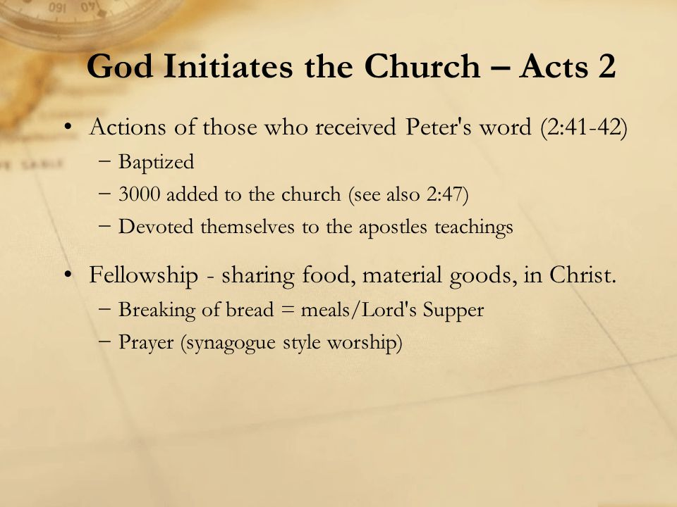 Actions of those who received Peter's word (2:41-42) −Baptized −3000 added to the church (see also 2:47) −Devoted themselves to the apostles teachings
