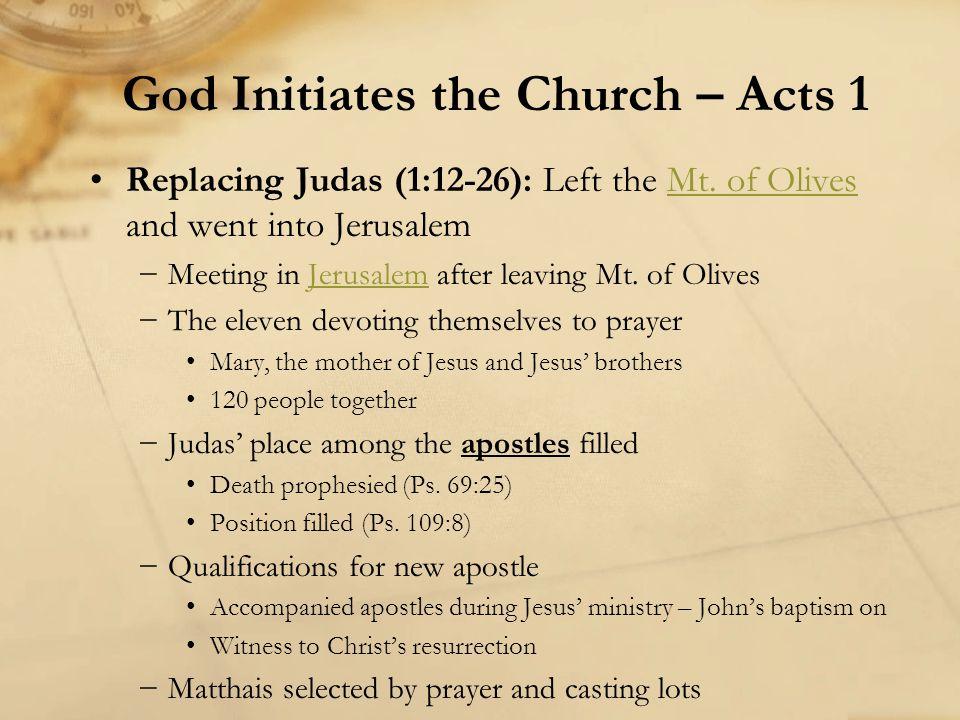 Replacing Judas (1:12-26): Left the Mt. of Olives and went into JerusalemMt. of Olives −Meeting in Jerusalem after leaving Mt. of OlivesJerusalem −The