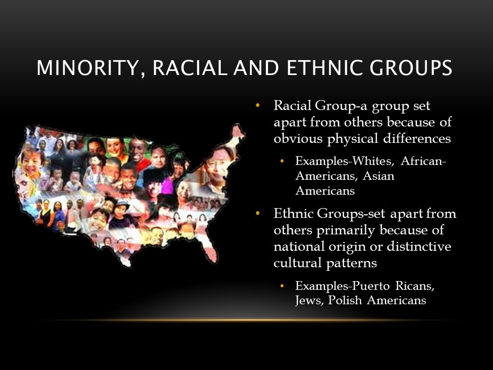MINORITY, RACIAL AND ETHNIC GROUPS Racial Group-a group set apart from others because of obvious physical differences Examples-Whites, African- Americans, Asian Americans Ethnic Groups-set apart from others primarily because of national origin or distinctive cultural patterns Examples-Puerto Ricans, Jews, Polish Americans