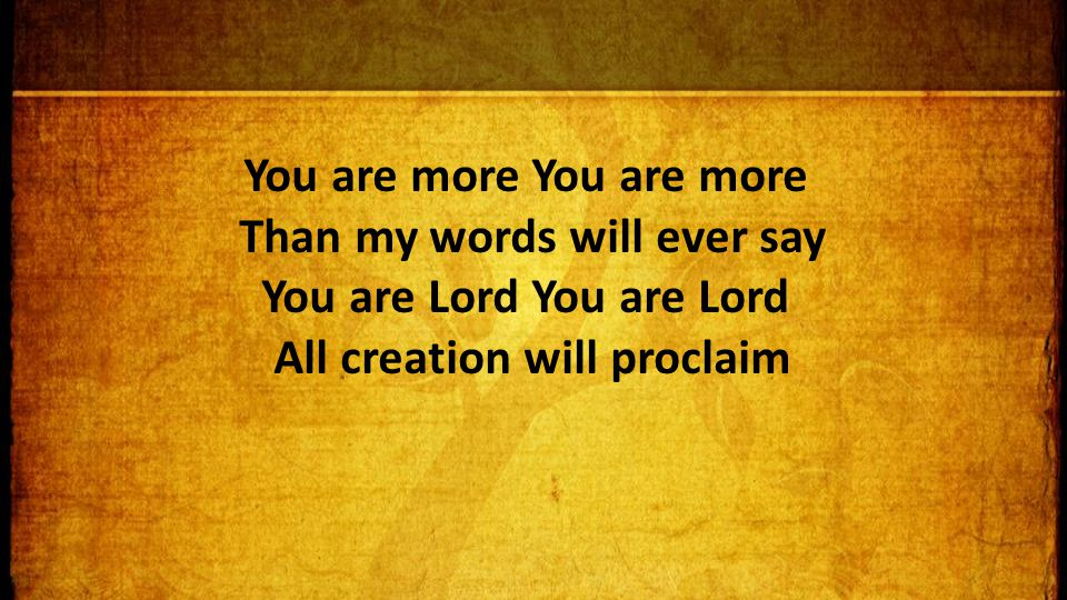 You are more Than my words will ever say You are Lord You are Lord All creation will proclaim