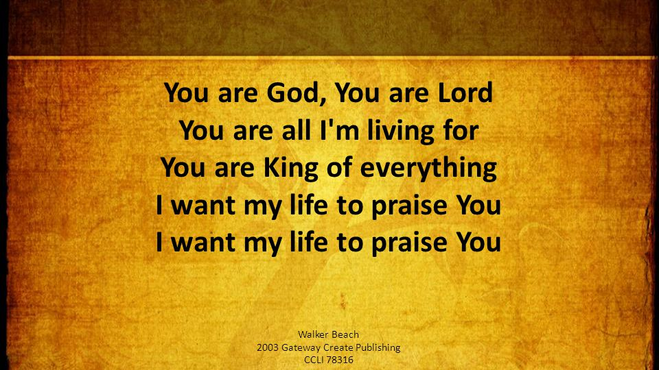 You are God, You are Lord You are all I m living for You are King of everything I want my life to praise You I want my life to praise You Walker Beach 2003 Gateway Create Publishing CCLI 78316