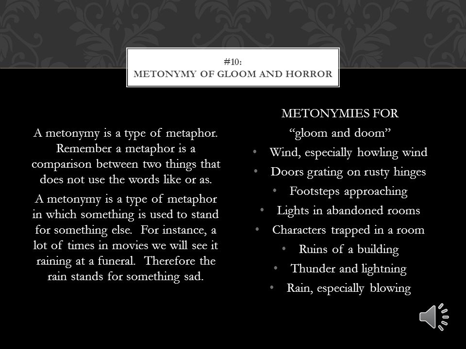 There are certain words that lend themselves well to gothic literature. On the right are a list of different adjectives, feelings, or other words that