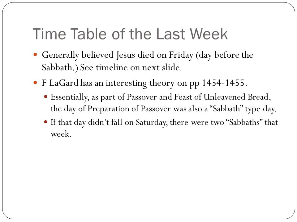 Time Table of the Last Week Generally believed Jesus died on Friday (day before the Sabbath.) See timeline on next slide.