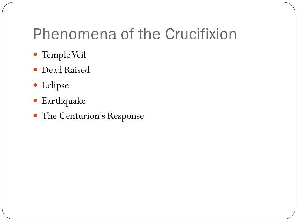 Phenomena of the Crucifixion Temple Veil Dead Raised Eclipse Earthquake The Centurion's Response