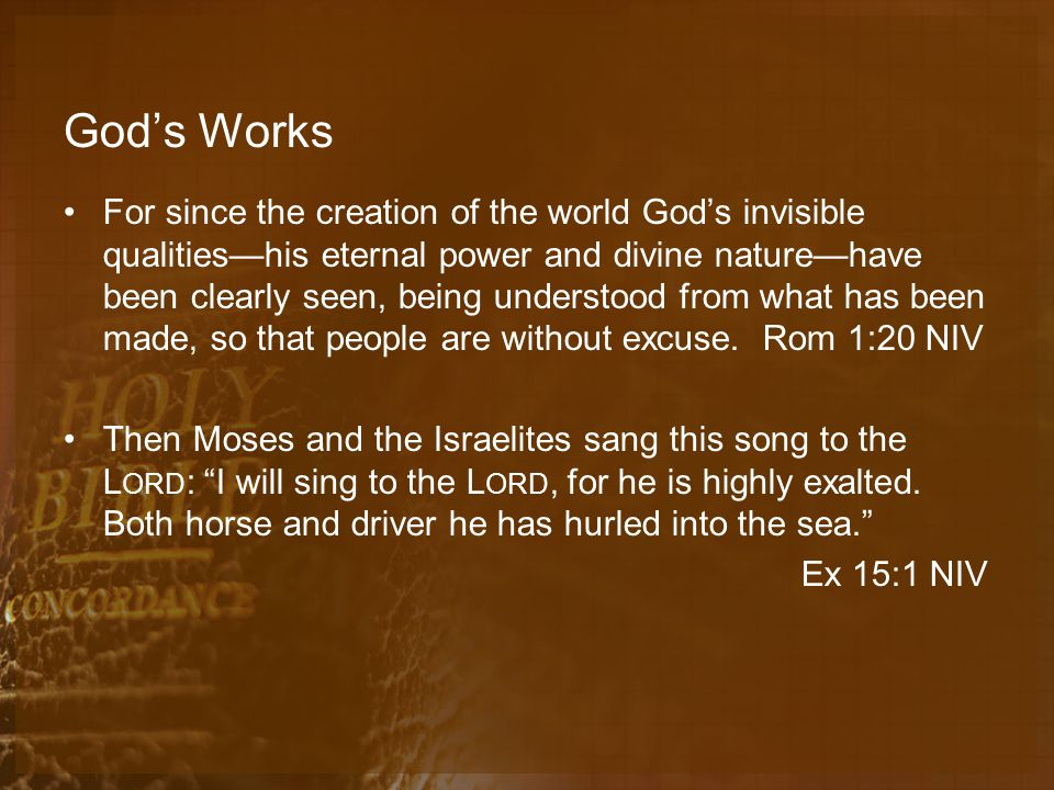 God's Works For since the creation of the world God's invisible qualities—his eternal power and divine nature—have been clearly seen, being understood from what has been made, so that people are without excuse.