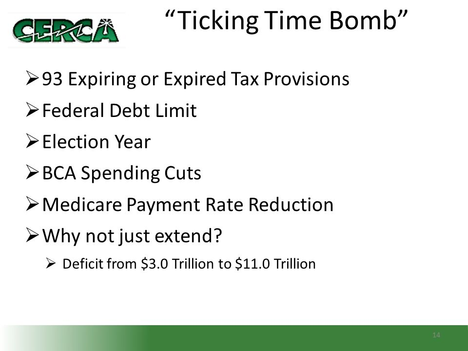 """14 """"Ticking Time Bomb""""  93 Expiring or Expired Tax Provisions  Federal Debt Limit  Election Year  BCA Spending Cuts  Medicare Payment Rate Reduct"""