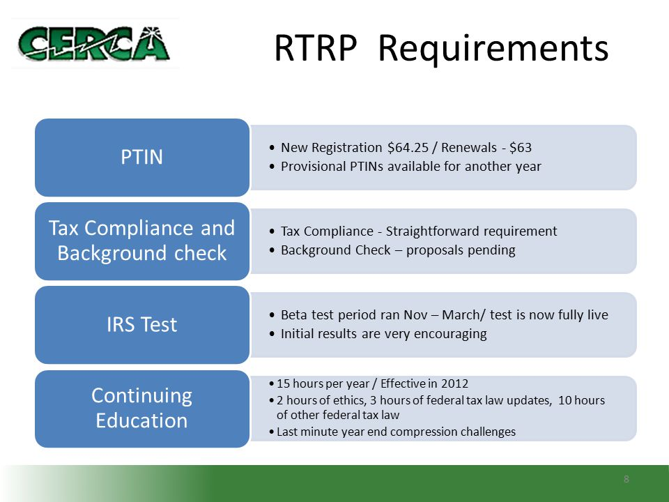 RTRP Requirements 8 New Registration $64.25 / Renewals - $63 Provisional PTINs available for another year PTIN Tax Compliance - Straightforward requir