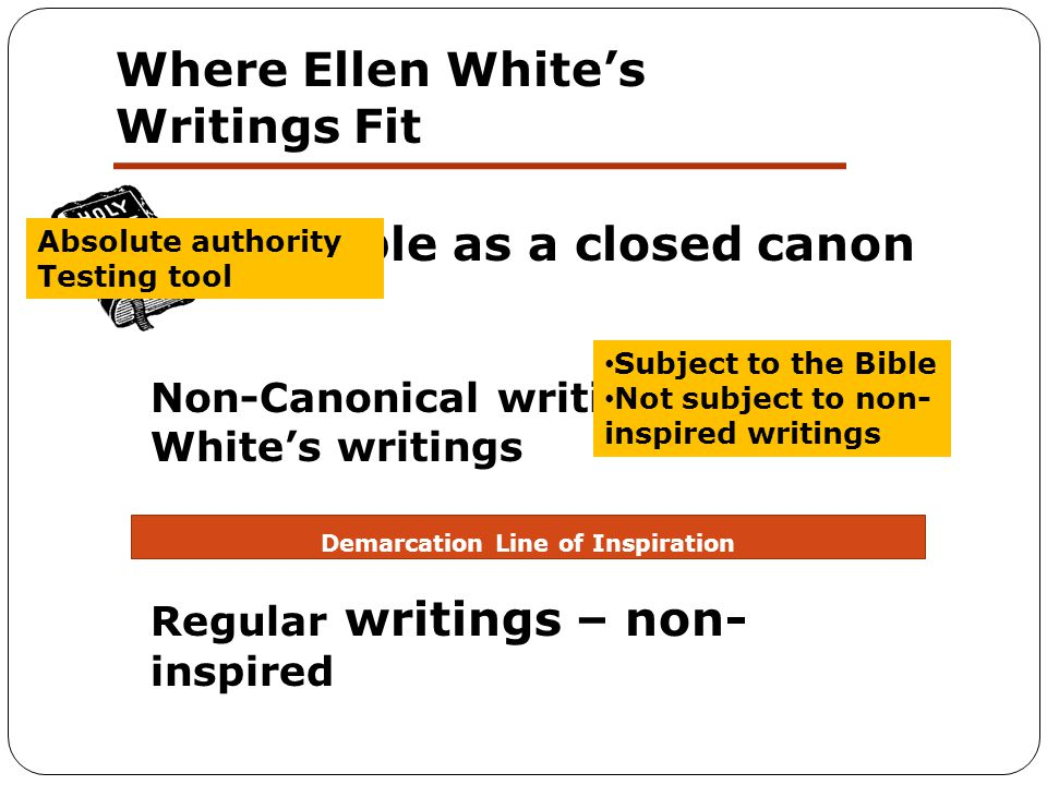 Where Ellen White's Writings Fit Regular writings – non- inspired Non-Canonical writings/Ellen White's writings The Bible as a closed canon Demarcation Line of Inspiration Absolute authority Testing tool Subject to the Bible Not subject to non- inspired writings