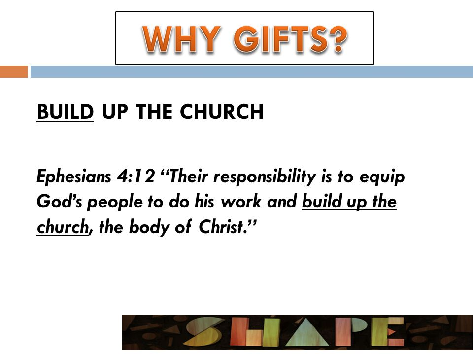 BUILD UP THE CHURCH Ephesians 4:12 Their responsibility is to equip God's people to do his work and build up the church, the body of Christ.