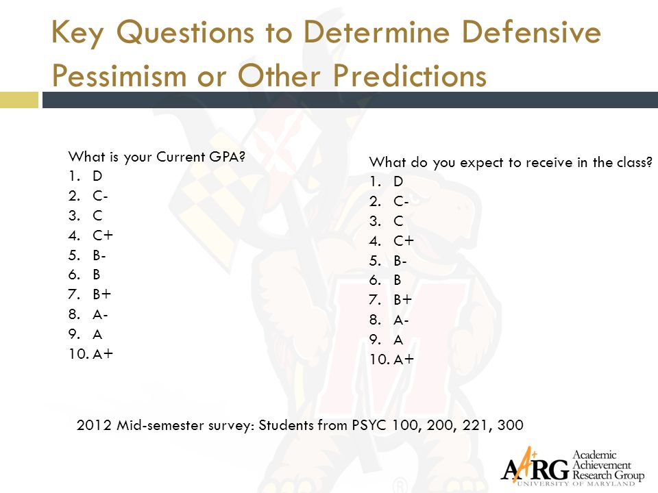 Key Questions to Determine Defensive Pessimism or Other Predictions 2012 Mid-semester survey: Students from PSYC 100, 200, 221, 300 What is your Curre